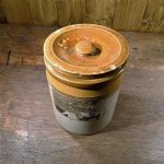 Glazed Stoneware Apothecary Jar with Lid